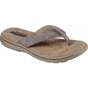 スケッチャーズ メンズ ビーチサンダル シューズ・靴 Relaxed Fit Evented Rosen Thong Sandal Khaki|fermart-shoes