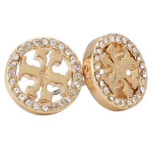 【即納】トリー バーチ Tory Burch レディース イヤリング・ピアス ジュエリー・アクセサリー Circle-Stud Earring 53422 Tory Gold / Crystal スタッドピアス|fermart-shoes