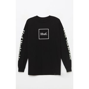 ハフ HUF メンズ 長袖Tシャツ トップス Domestic Long Sleeve T-Shirt BLACK|fermart2-store