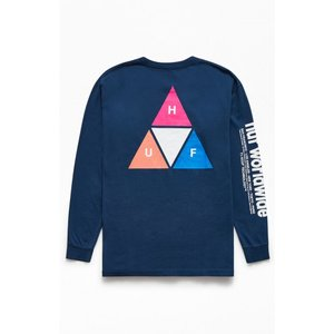 ハフ HUF メンズ 長袖Tシャツ トップス Triple Triangle Prism Long Sleeve T-Shirt BLUE|fermart2-store