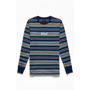 ハフ HUF メンズ 長袖Tシャツ トップス Script Stripe Long Sleeve T-Shirt BLUE/WHITE|fermart2-store