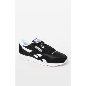 リーボック Reebok メンズ スニーカー シューズ・靴 Classic Black and White Leather & Nylon Shoes BLACK/WHITE|fermart2-store