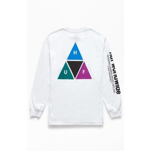 ハフ HUF メンズ 長袖Tシャツ トップス Triple Triangle Prism Long Sleeve T-Shirt WHITE|fermart2-store