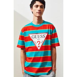 ゲス Guess メンズ Tシャツ トップス Davidson Striped T-Shirt RED/BLUE|fermart2-store