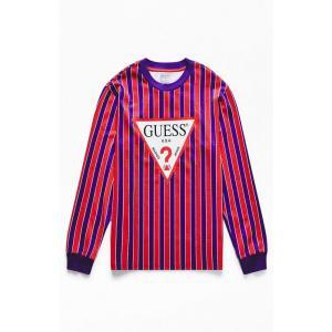 ゲス Guess メンズ 長袖Tシャツ トップス Triangle Logo Striped Long Sleeve T-Shirt PURPLE|fermart2-store