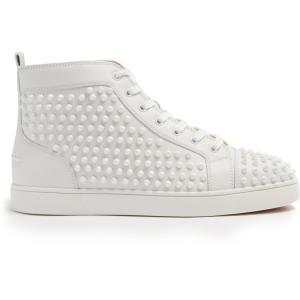 クリスチャン ルブタン メンズ スニーカー シューズ・靴 Louis spiked leather high-top trainers White|fermart2-store