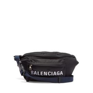 バレンシアガ レディース ボディバッグ・ウエストポーチ バッグ Logo-embroidered belt bag Black|fermart2-store