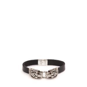 グッチ メンズ ブレスレット ジュエリー・アクセサリー Tiger head leather bracelet Black|fermart2-store
