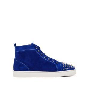 クリスチャン ルブタン Christian Louboutin メンズ スニーカー シューズ・靴 Lou spike-embellished suede high-top trainers Blue|fermart2-store
