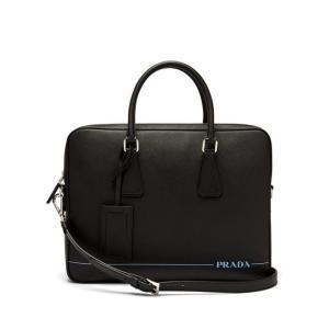 プラダ Prada メンズ ビジネスバッグ・ブリーフケース バッグ Saffiano leather briefcase Black fermart2-store
