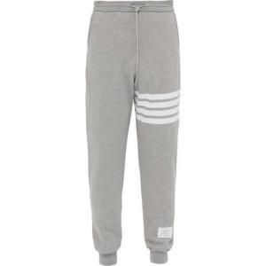 トム ブラウン Thom Browne メンズ スウェット・ジャージ ボトムス・パンツ Striped cotton track pants Grey|fermart2-store