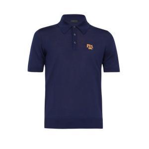 プラダ Prada メンズ ポロシャツ トップス Logo-jacquard wool-blend polo shirt Blue fermart2-store