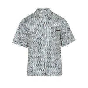 プラダ Prada メンズ 半袖シャツ トップス Spot-print cotton shirt Blue fermart2-store
