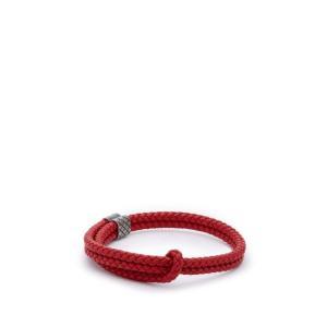 ボッテガ ヴェネタ Bottega Veneta メンズ ブレスレット ジュエリー・アクセサリー Double Intrecciato-woven leather bracelet Red fermart2-store