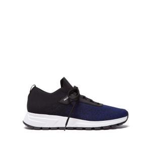 プラダ Prada メンズ スニーカー シューズ・靴 New Match leather-trimmed knit trainers Black fermart2-store