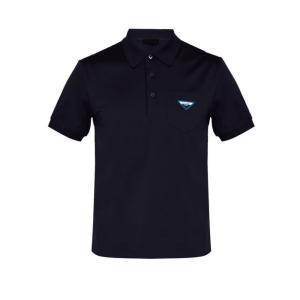 プラダ Prada メンズ ポロシャツ トップス Logo cotton-jersey polo shirt Navy fermart2-store