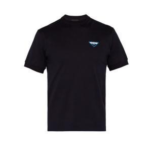プラダ Prada メンズ Tシャツ トップス Logo-patch cotton T-shirt Navy fermart2-store