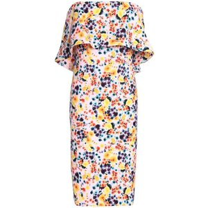 バッジェリー ミシュカ BADGLEY MISCHKA レディース ワンピース ワンピース・ドレス Strapless layered floral-print crepe dress Off-white|fermart2-store