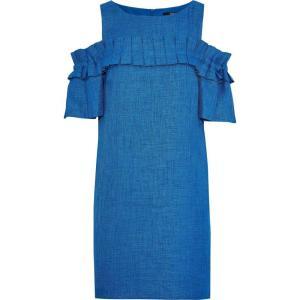 バッジェリー ミシュカ BADGLEY MISCHKA レディース ワンピース ワンピース・ドレス Cold-shoulder pleated woven mini dress Blue|fermart2-store