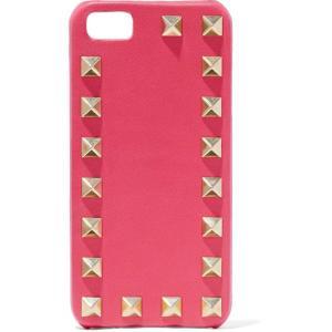 ヴァレンティノ VALENTINO GARAVANI レディース スマホケース Studded textured-leather phone case Bubblegum|fermart2-store