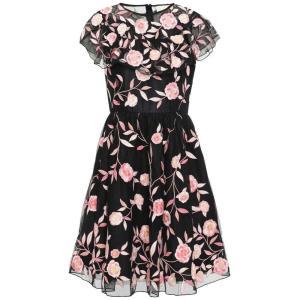 ケイト スペード KATE SPADE New York レディース ワンピース ワンピース・ドレス Ruffled embroidered tulle dress Black|fermart2-store