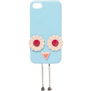 フェンディ FENDI レディース iPhone (7)ケース Blossom appliqued leather iPhone 7 case Sky blue|fermart2-store