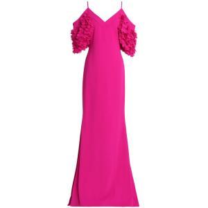 バッジェリー ミシュカ BADGLEY MISCHKA レディース パーティードレス ワンピース・ドレス Cold-shoulder appliqued crepe gown Fuchsia|fermart2-store