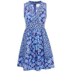 ケイト スペード KATE SPADE New York レディース ワンピース ワンピース・ドレス Floral-print cotton-blend mini dress Cobalt blue|fermart2-store
