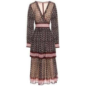 ケイト スペード KATE SPADE New York レディース ワンピース ワンピース・ドレス Wrap-effect printed silk-georgette midi dress Chocolate|fermart2-store