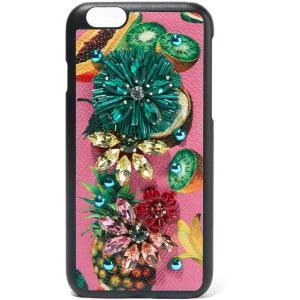 ドルチェ&ガッバーナ DOLCE & GABBANA レディース iPhone (7)ケース Embellished printed textured-leather iPhone 7 case Pink|fermart2-store