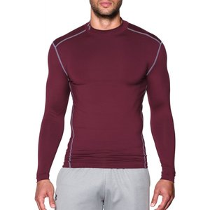アンダーアーマー メンズ トップス フィットネス・トレーニング Under Armour ColdGear Armour Compression Mock Neck Long Sleeve Shirt Maroon/Steel|fermart2-store
