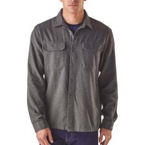 パタゴニア メンズ 長袖Tシャツ トップス Patagonia Fjord Flannel Button Up Long Sleeve Shirt Forge Grey|fermart2-store