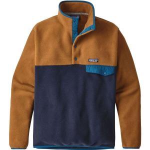 パタゴニア メンズ スウェット・トレーナー トップス Patagonia Lightweight Synchilla Snap-T Fleece Pullover Navy Blue/Bear Brown fermart2-store