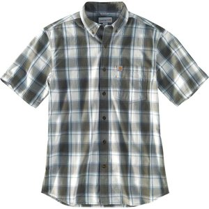 カーハート Carhartt メンズ 半袖シャツ トップス essential plaid button down short sleeve shirt Olive|fermart2-store