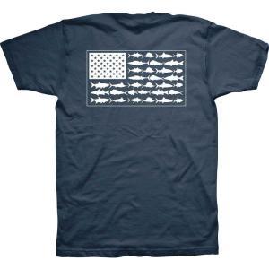 コロンビア メンズ Tシャツ トップス PFG Americana Saltwater Fish Flag T-Shirt Columbia Navy|fermart2-store