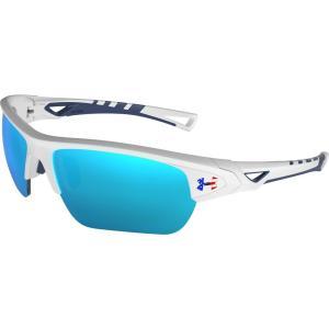 アンダーアーマー ユニセックス メガネ・サングラス Octane Tuned Baseball/Softball Sunglasses Satin White/Blue fermart2-store
