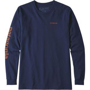 パタゴニア メンズ 長袖Tシャツ トップス Patagonia Text Logo Responsibili-Tee Long Sleeve Shirt Classic Navy|fermart2-store