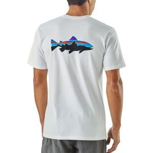 パタゴニア メンズ Tシャツ トップス Patagonia Fitz Roy Trout Responsibili-Tee T-Shirt White|fermart2-store