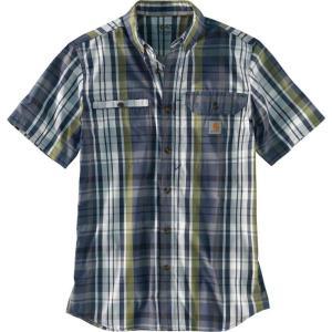 カーハート Carhartt メンズ 半袖シャツ トップス force ridgefield plaid short sleeve shirt Navy|fermart2-store