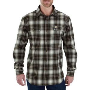 カーハート Carhartt メンズ シャツ トップス hubbard plaid long sleeve button down shirt Burnt Olive|fermart2-store