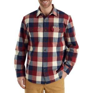 カーハート Carhartt メンズ シャツ トップス hubbard plaid long sleeve button down shirt Navy|fermart2-store
