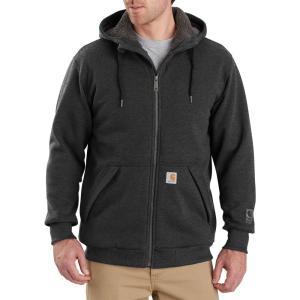 カーハート Carhartt メンズ スウェット・トレーナー トップス rain defender rockland sherpa-lined full-zip hooded sweatshirt Carbon Heather|fermart2-store