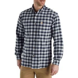 カーハート Carhartt メンズ 半袖シャツ トップス rugged flex hamilton plaid button down shirt Navy|fermart2-store