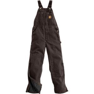 カーハート Carhartt メンズ オーバーオール ビブパンツ ボトムス・パンツ sandstone duck quilt-lined overall bib Dark Brown|fermart2-store