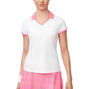 フィラ Fila レディース テニス Vネック トップス windowpane v-neck tennis shirt White/Miami Pink/Atlantis|fermart2-store