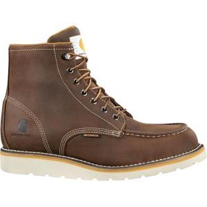 カーハート Carhartt メンズ ブーツ モックトゥ ウェッジソール ワークブーツ シューズ・靴 moc toe wedge 6'' waterproof steel toe work boots Brown|fermart2-store