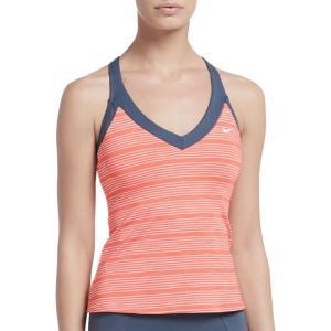 ナイキ Nike レディース トップのみ 水着・ビーチウェア 6:1 Heather Striped V-Neck Tankini Swim Top Monsoon Blue fermart2-store