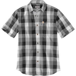 カーハート Carhartt メンズ 半袖シャツ トップス essential plaid open collar short sleeve shirt Charcoal|fermart2-store