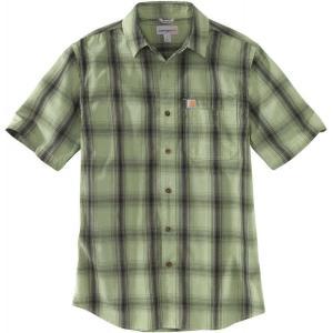 カーハート Carhartt メンズ 半袖シャツ トップス essential plaid open collar short sleeve shirt Oil Green|fermart2-store