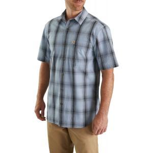 カーハート Carhartt メンズ 半袖シャツ トップス essential plaid open collar short sleeve shirt Dusty Blue|fermart2-store